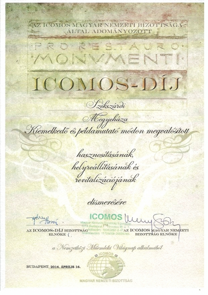 Icomos-díj a Vármegyeháza felújításáért