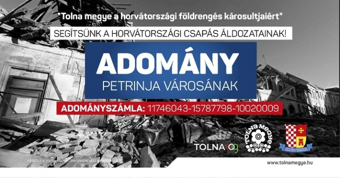Tolna megye a horvátországi földrengés károsultjaiért